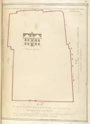 Copy of a plan with a mansion house from a lease by Sir John Evelyn to the Church Wardens of St Nicholas